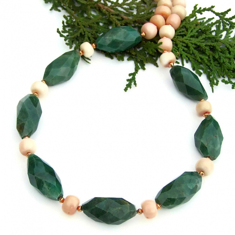green aventurine and peach coral jewelry for women