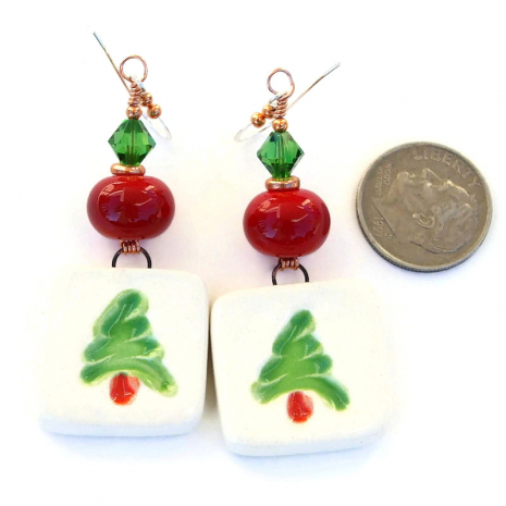 green and red christmas tree earrings holiday gift for her