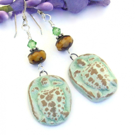 green and tan turtles earrings with Czech glass and Swarovski crystals
