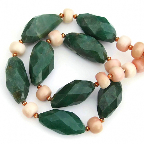 green and peach gemstone spring necklace for her