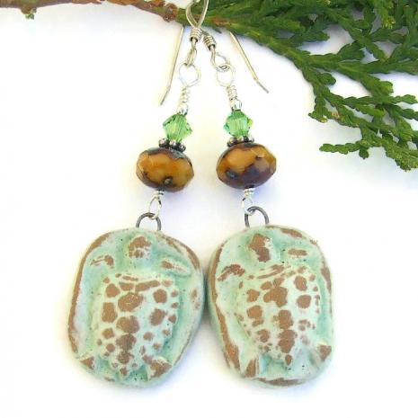 green ceramic turtle dangle earrings