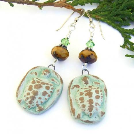 green ceramic turtle dangle jewelry
