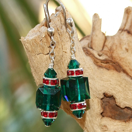 swarovski crystal christmas earrings in green and red