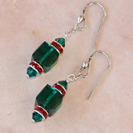 sparkling green and red crystal earrings for christmas