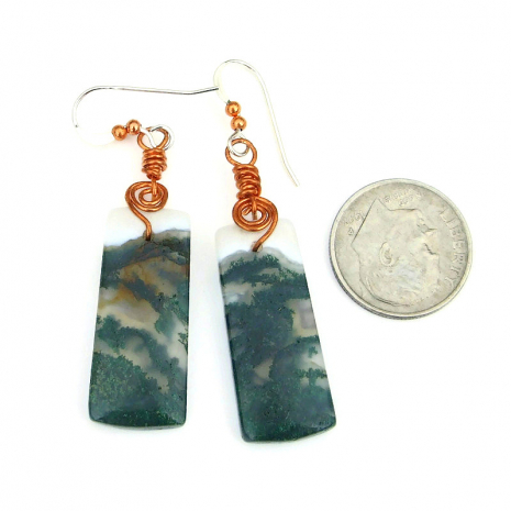 green moss agate gemstone earrings gift for her