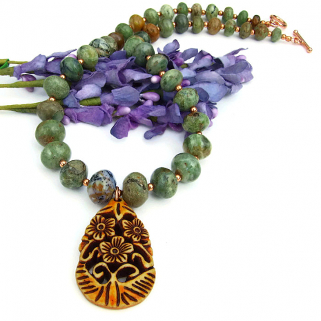 African green opal necklace with flower pendant gift idea