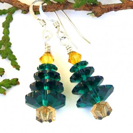green swarovski christmas tree earrings holiday gift for women