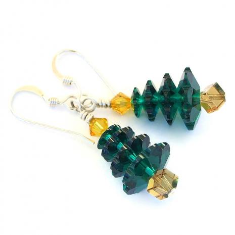 green swarovski christmas tree jewelry holiday gift for women