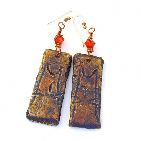 boho cat earrings for the woman who loves cats