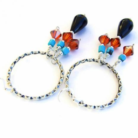 Gemstone and crystals hoop earrings.