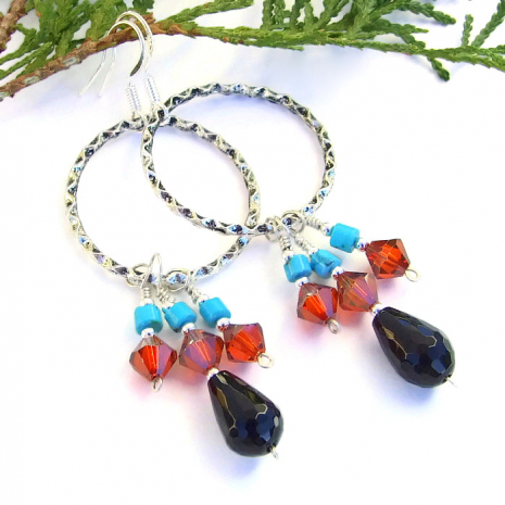 Gypsy boho hoop earrings for women.