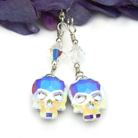 halloween crystal skull earrings gift for her