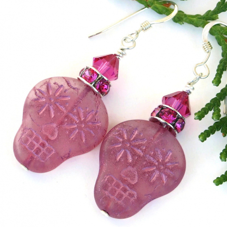 halloween day of the dead pink sugar skull earrings