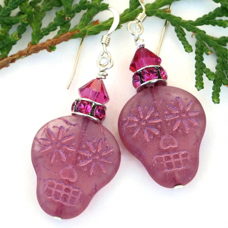 halloween day of the dead pink sugar skull jewelry