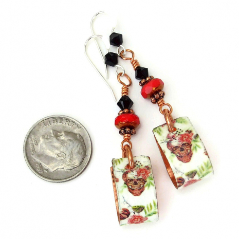 halloween day of the dead skull hoop earrings for her
