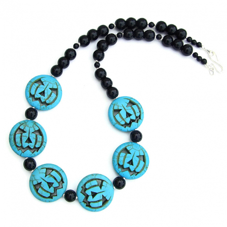 Turquoise magnesite Jack O Lantern necklace for her