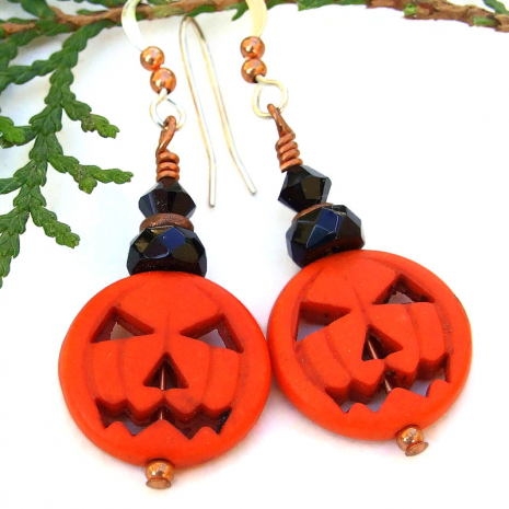 halloween jack o lantern pumpkin earrings black crystals