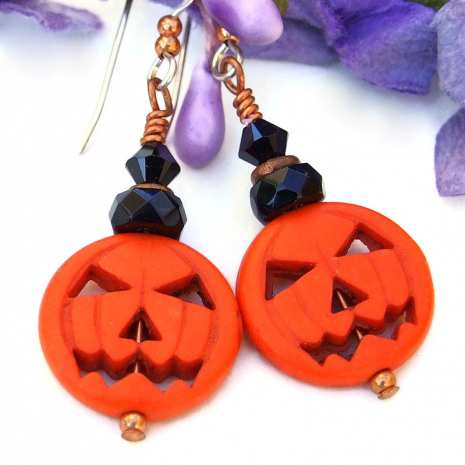 halloween jack o lantern pumpkin jewelry black crystals