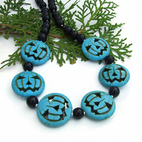 Turquoise magnesite pumpkin necklace for women