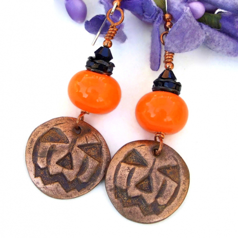 halloween jewelry copper pumpkin orange lampwork