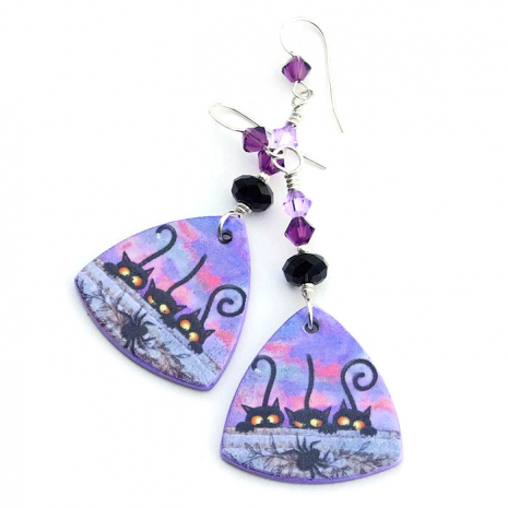 Black cats and spider polymer clay jewelry
