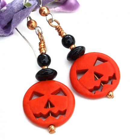 halloween orange pumpkin black onyx earrings