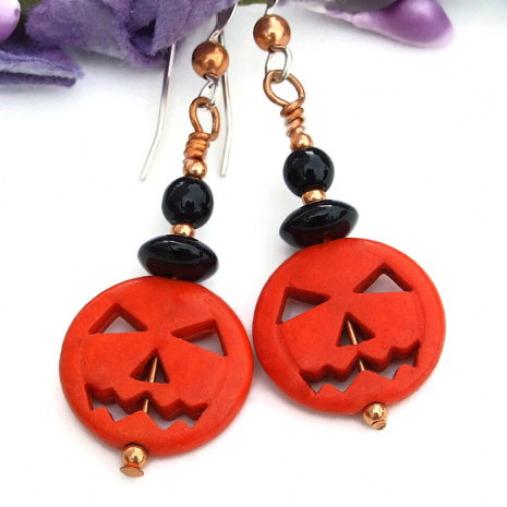 halloween orange pumpkin black onyx jewelry