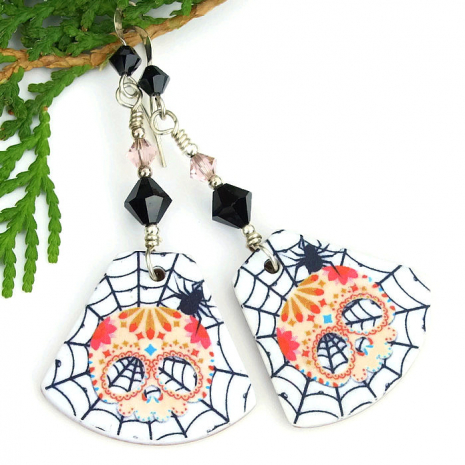spooky sugar skull earrings for women