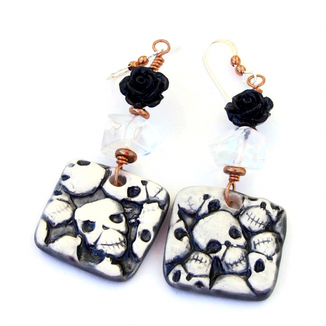 halloween skulls jewelry day of the dead gift for her