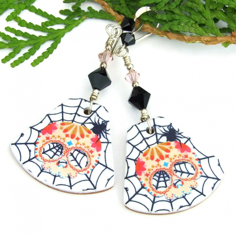 halloween sugar skull earrings