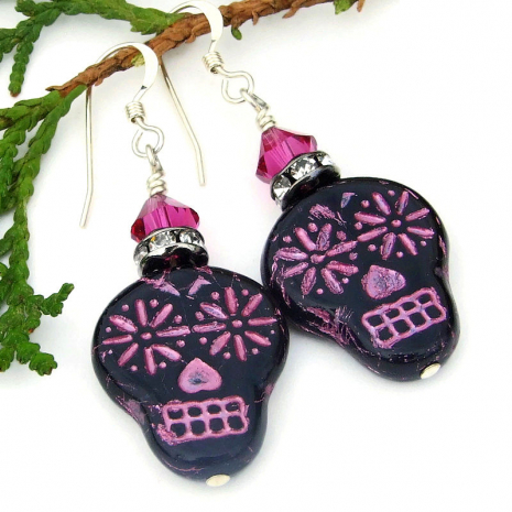 halloween sugar skull earrings with crystals
