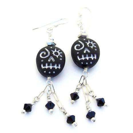 halloween voodoo skull earrings for her