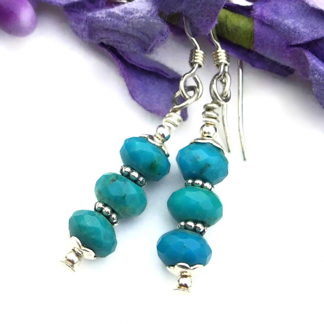 hand cut turquoise earrings