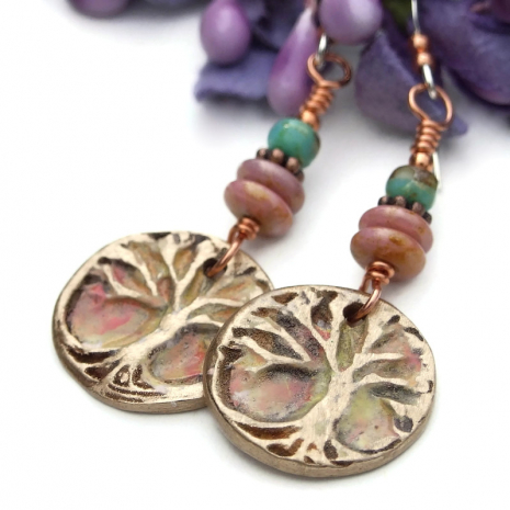 hand painted bronze tree of life earrings