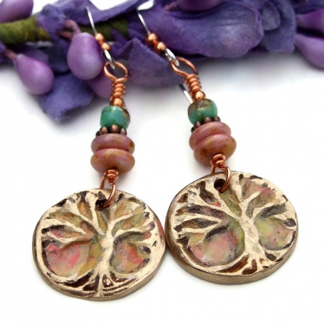 hand painted bronze tree of life jewelry