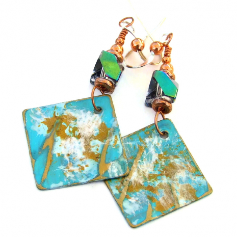 hand painted earrings gift for women aqua gold white
