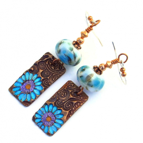 hand painted flowers on copper earrings gift for women