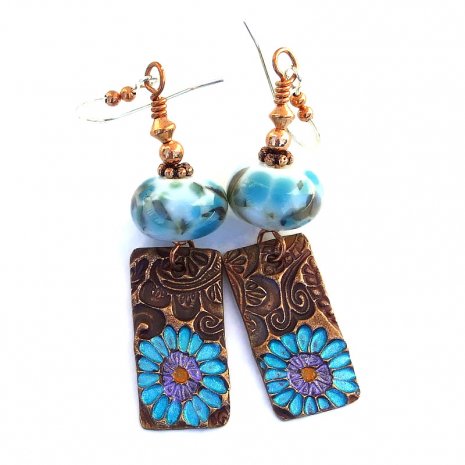 hand painted flowers on copper jewelry gift for women
