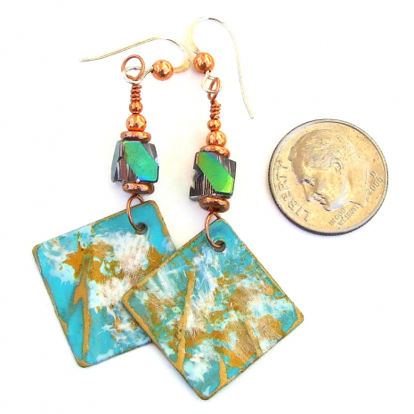 hand painted jewelry gift for women aqua gold white