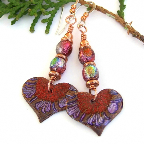 hand painted red purple heart earrings aurora glass beads