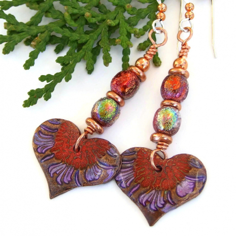 hand painted red purple heart jewelry aurora glass beads