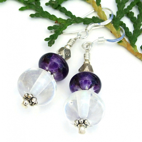 purple and clear lampwork bead jewelry