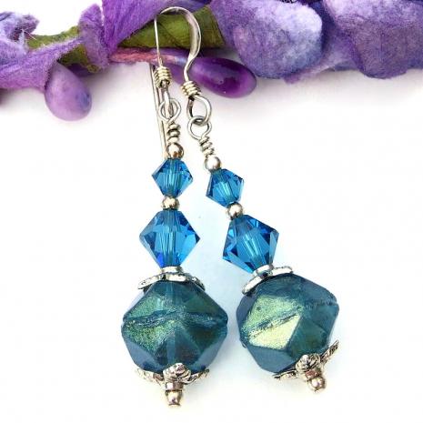 handmade aqua czech glass english cut earrings