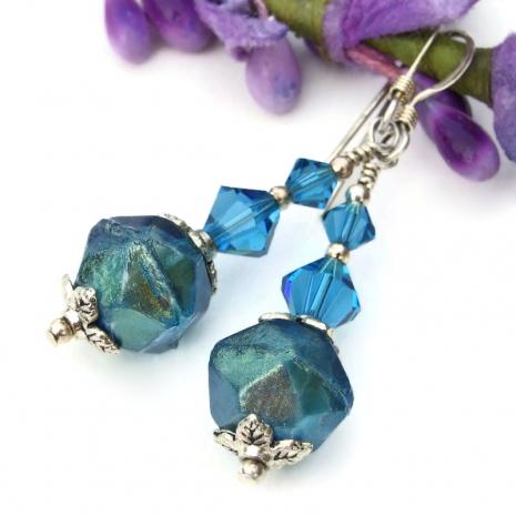 handmade aqua czech glass english cut jewelry