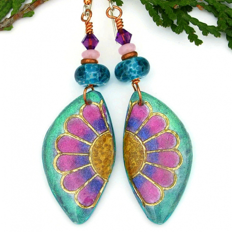 handmade aqua pink and purple daisy flower earrings