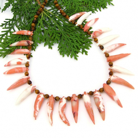 handmade beach tribal jewelry coral spikes golden tigers eye