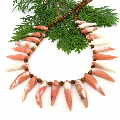 handmade beach tribal necklace coral spikes golden tigers eye