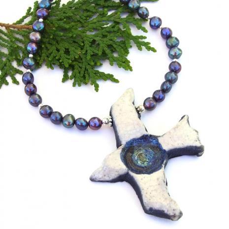 handmade bird pendant jewelry peacock pearls gift for her