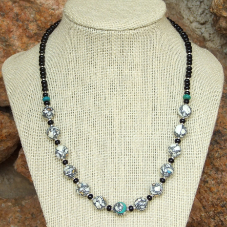 black and white gemstone necklace jewelry for her