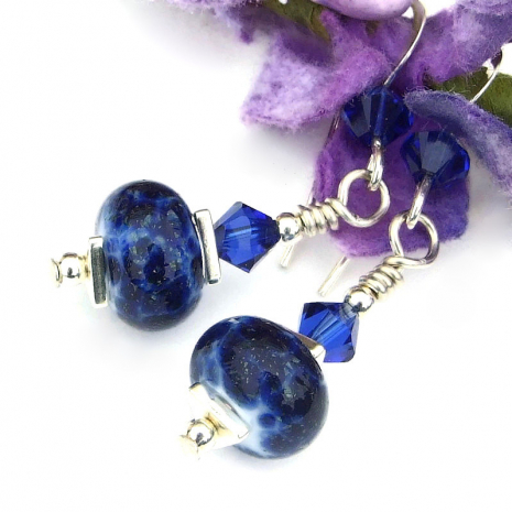 handmade blue lampwork earrings